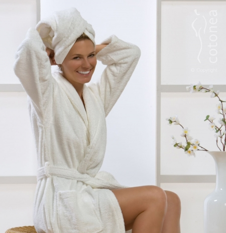 Natural Home Products Terry Cotton Dressing Gown Luxury Dressing
